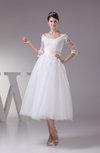 Antique Destination A-line 3/4 Length Sleeve Lace up Appliques Bridal Gowns