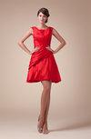 Plain A-line Scoop Zipper Mini Ruching Cocktail Dresses