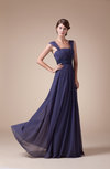 Modest A-line Thick Straps Backless Chiffon Prom Dresses