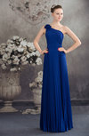 Modest A-line One Shoulder Lace up Chiffon Floor Length Graduation Dresses
