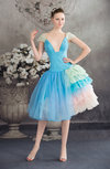 Cinderella Baby Doll V-neck Short Sleeve Backless Graduation Dresses