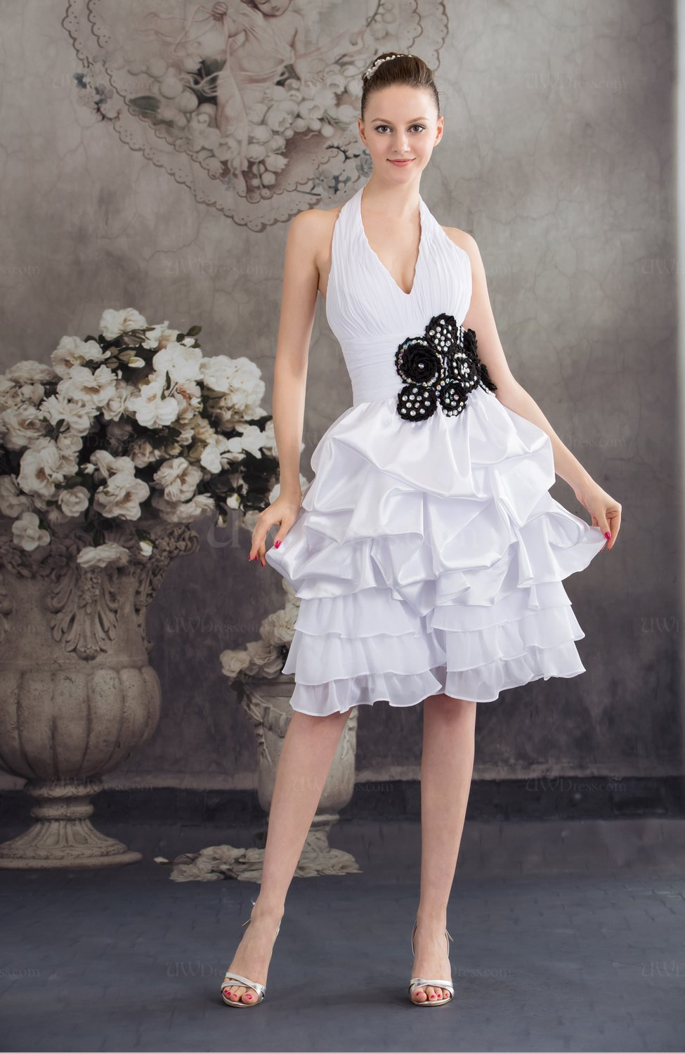 White Cute Hall Halter Lace Up Chiffon Knee Length Pleated