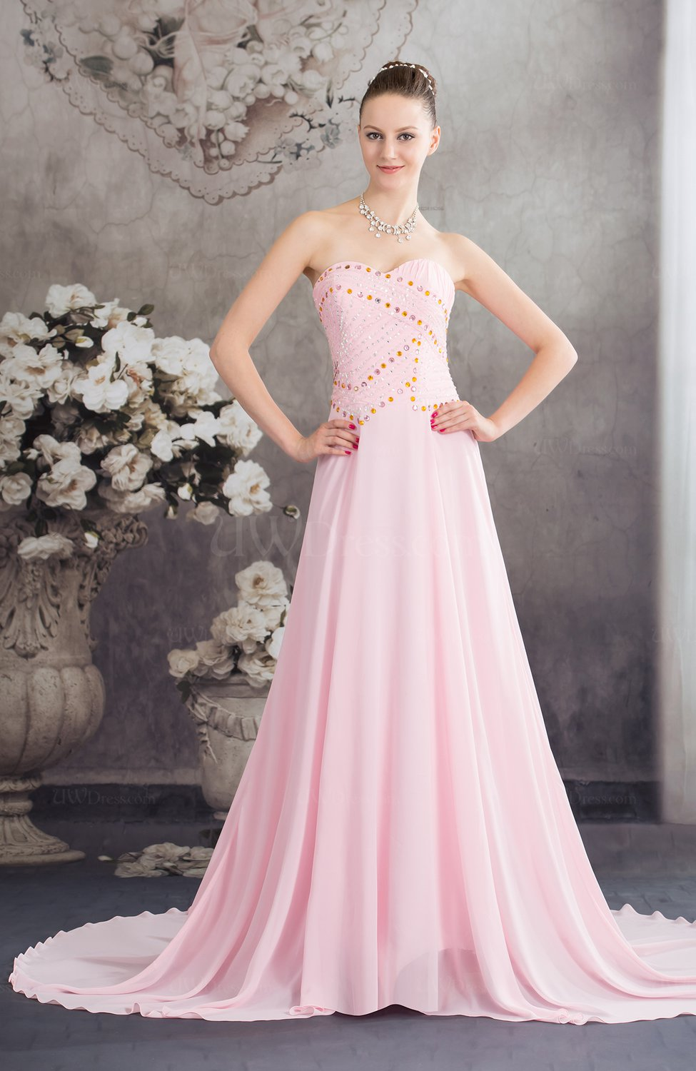 Baby Pink Plain Church A Line Sweetheart Sleeveless Lace
