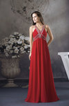 Classic V-neck Sleeveless Backless Floor Length Sequin Graduation Dresses