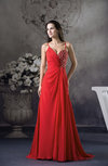 Plain Spaghetti Sleeveless Zipper Chiffon Brush Train Evening Dresses