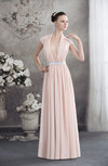 Modern V-neck Sleeveless Floor Length Sash Evening Dresses