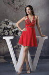 Sexy V-neck Sleeveless Zipper Rhinestone Cocktail Dresses