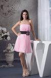 Modest A-line Zipper Chiffon Knee Length Pleated Bridesmaid Dresses