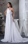 Modest Hall Asymmetric Neckline Sleeveless Half Backless Chiffon Ruching Bridal Gowns