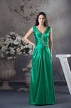 Modest Sheath Zipper Floor Length Ruching Prom Dresses