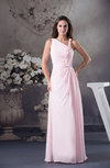 Classic Asymmetric Neckline Sleeveless Half Backless Chiffon Evening Dresses