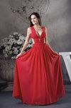Modern A-line V-neck Sleeveless Floor Length Prom Dresses