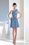 Simple A-line One Shoulder Mini Pleated Bridesmaid Dresses