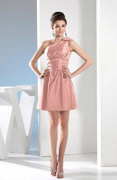 ef03464bb9 Pastel Pink Simple A-line One Shoulder Mini Pleated Bridesmaid Dresses