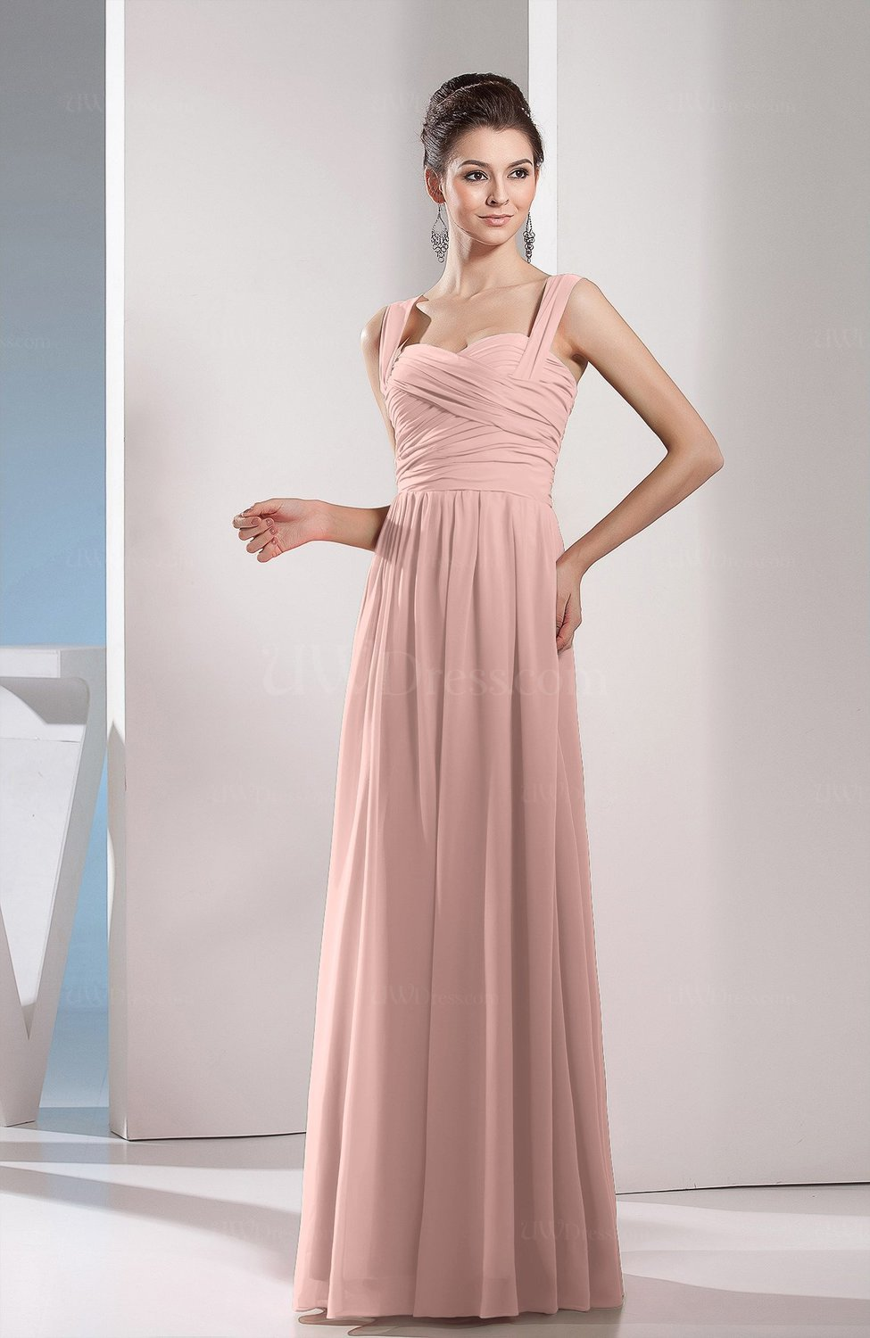 Dusty Rose Cute A Line Chiffon Floor Length Ruching