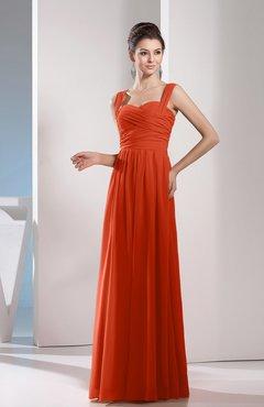 e467cbcf0ee Rust Cute A-line Chiffon Floor Length Ruching Bridesmaid Dresses