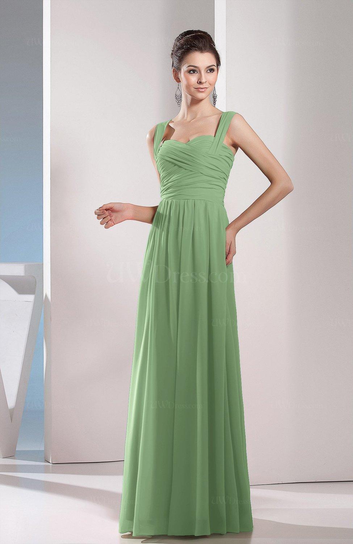 562de0dc9323 Sage Green Cute A-line Chiffon Floor Length Ruching Bridesmaid Dresses  (Style D01073)