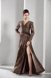 Modest A-line Floor Length Sash Evening Dresses