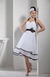 Elegant A-line Halter Chiffon Tea Length Party Dresses