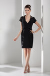 Mature V-neck Zipper Chiffon Knee Length Ribbon Bridesmaid Dresses
