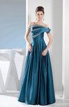 Elegant A-line Off-the-Shoulder Silk Like Satin Floor Length Ruching Prom Dresses