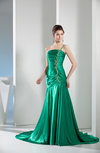 Mature One Shoulder Sleeveless Silk Like Satin Pleated Prom Dresses
