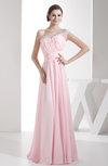 Elegant A-line Asymmetric Neckline Chiffon Floor Length Pleated Party Dresses