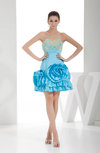 Gorgeous A-line Strapless Short Flower Party Dresses