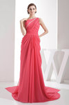 Elegant Asymmetric Neckline Sleeveless Zipper Chapel Train Draped Evening Dresses