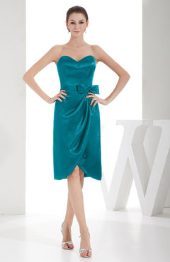 d8463cabfd2 Emerald Green Elegant Sheath Sweetheart Zip up Silk Like Satin Bow Little  Black Dresses