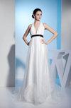Glamorous Outdoor Halter Sleeveless Zip up Court Train Bridal Gowns