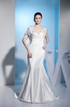 Modest Outdoor Mermaid Short Sleeve Silk Like Satin Court Train Pearls Bridal Gowns
