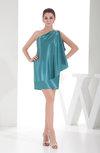 Informal Sheath One Shoulder Silk Like Satin Mini Rhinestone Little Black Dresses