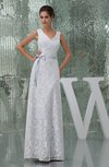Vintage Beach Sheath Sleeveless Zip up Bridal Gowns