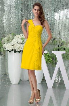 146574db712 Yellow Elegant Sheath Sleeveless Zipper Knee Length Ruching Party Dresses