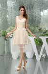 Modest V-neck Sleeveless Tea Length Homecoming Dresses