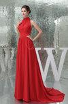 Elegant Outdoor High Neck Sleeveless Zip up Sash Bridal Gowns