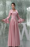 Simple Hall A-line Strapless Long Sleeve Silk Like Satin Sequin Bridal Gowns