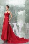 Glamorous Fishtail Sweetheart Sleeveless Satin Chapel Train Prom Dresses