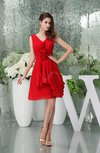 Simple A-line V-neck Sleeveless Zip up Flower Party Dresses