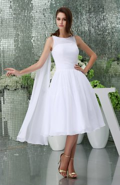 White Elegant Hall Baby Doll Sleeveless Zip Up Chiffon Bridal Gowns