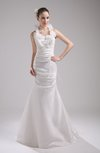 Plain Outdoor Trumpet Sleeveless Zip up Taffeta Ruching Bridal Gowns