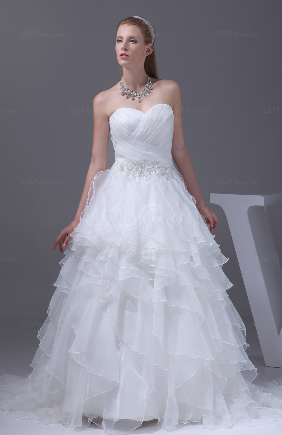 tiered wedding dress white modest garden sleeveless lace up court tiered 7997