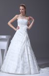Romantic Hall Strapless Backless Organza Court Train Ribbon Bridal Gowns