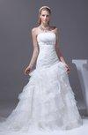 Modern Garden Sleeveless Organza Court Train Tiered Bridal Gowns