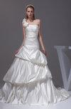 Glamorous Hall Asymmetric Neckline Sleeveless Backless Satin Flower Bridal Gowns