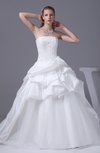 Classic Church Princess Strapless Backless Taffeta Pick up Bridal Gowns
