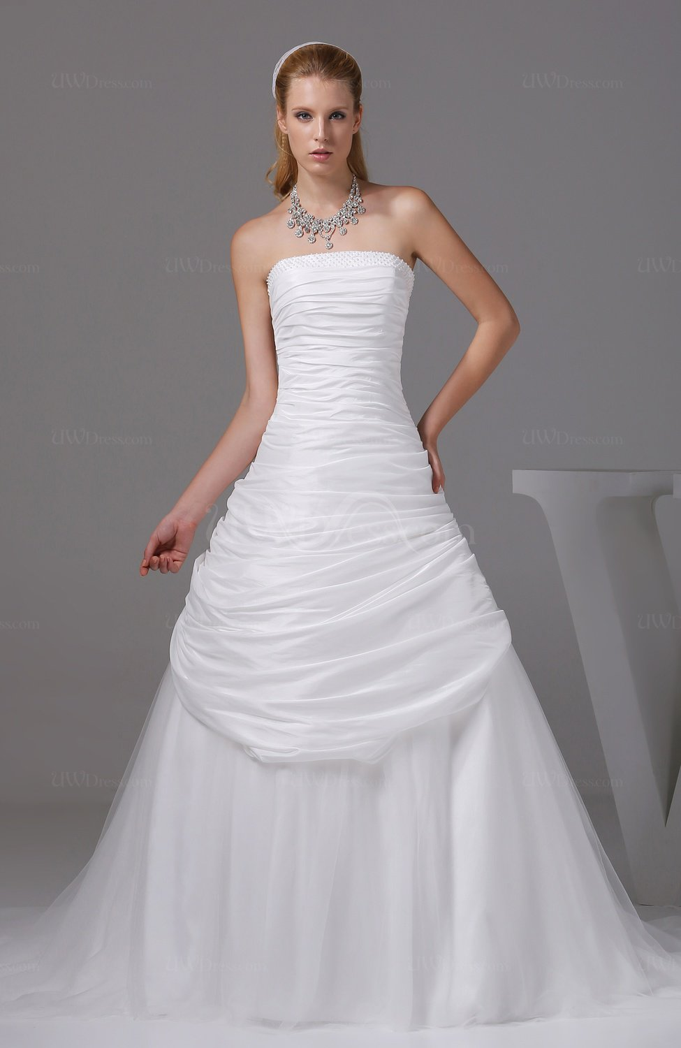 cream wedding dresses gorgeous church a line sleeveless taffeta ruching 3176