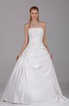 Classic Church Backless Satin Floor Length Paillette Bridal Gowns
