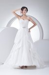 Disney Princess Outdoor Sweetheart Sleeveless Backless Taffeta Pleated Bridal Gowns